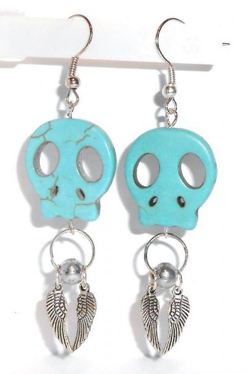 Natural Turquoise Large Skull Earrings